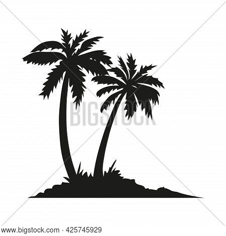 Palm Tropical Tree Set Icons Black Silhouette Illustration Isolated On White