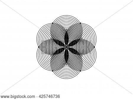 Seed Of Life Symbol Sacred Geometry. Round Logo Icon  Geometric Mystic Mandala Of Alchemy Esoteric F