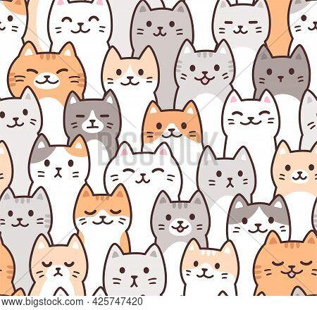 Cute Cartoon Doodle Cats Pattern. Kawaii Crowd Of Cat Faces. Seamless Background, Vector Illustratio