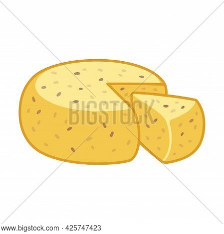 Jāņu Siers, Traditional Latvian Jani Cheese. Artisanal Cheese With Caraway Seeds. Cartoon Drawing, V