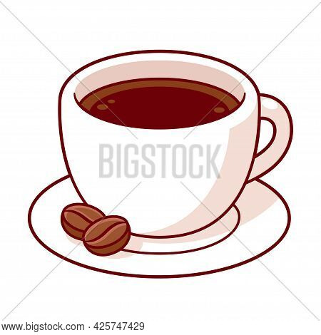 Cup Of Coffee With Coffee Beans, Cute Cartoon Drawing. Isolated Vector Clip Art Illustration.