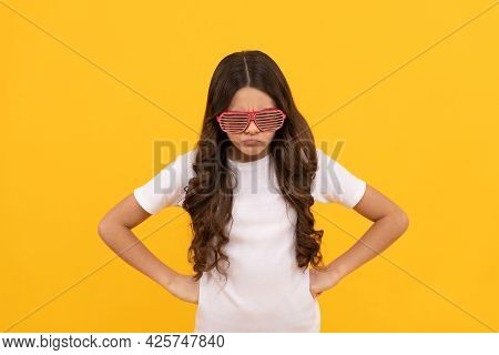 Angry Kid In Fancy Glamour Party Eyeglasses With Rhinestones, Anger