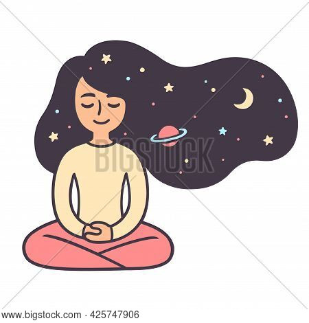 Young Woman Meditating With Stars And Space Hair. Relaxation Meditation For Good Night Sleep. Cute G