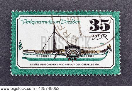 Gdr - Circa 1977 : Cancelled Postage Stamp Printed By Gdr, That Shows Personal Steamboat In 1837, Di