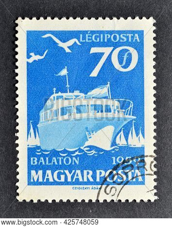 Hungary - Circa 1985 : Cancelled Postage Stamp Printed By Hungary, That Shows Ship, Circa 1985.