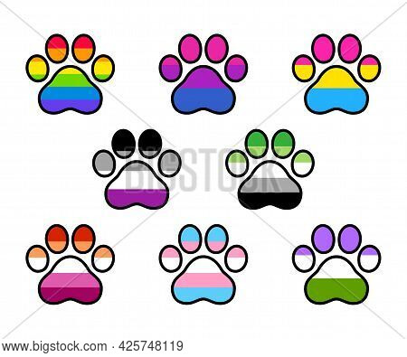 Lgbt Pride Flags Set In Animal Paw Shape, Cartoon Style Stickers. Cat Or Dog Paw Print. Rainbow, Gay