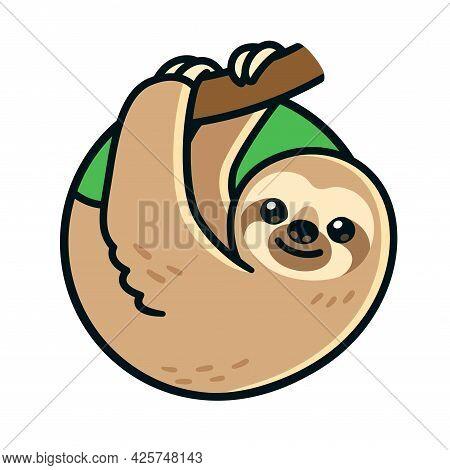 Cute Cartoon Sloth Hanging On Branch In Circle Logo. Vector Clip Art Illustration.
