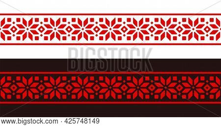 Ethnic Slavic Embroidery Pattern Stripe. Traditional Geometric Floral Ornament, Red Design On White