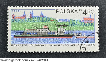 Poland - Circa 1979 : Cancelled Postage Stamp Printed By Poland, That Shows Tug Aurochs And Plock, 1