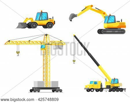 Building Machines Icon Set. Construction Equipment Collection Isolated On White. Tower Crane, Crane