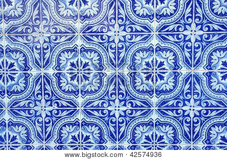 Portuguese Blue Tiles Close-up