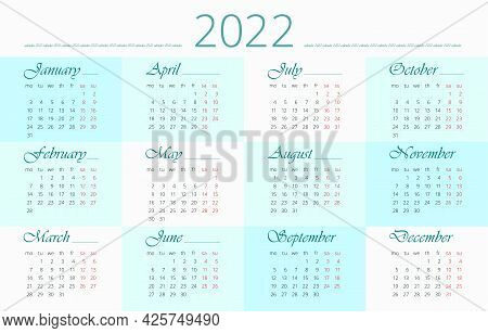 Calendar 2022 Year In English, Checker Pattern In Blue. 12 Months. Horizontal Vector Editable Templa