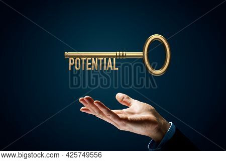 Coach Has A Key To Unlock Potential - Motivation Concept. Coach (manager, Mentor, Hr Specialist) Wit