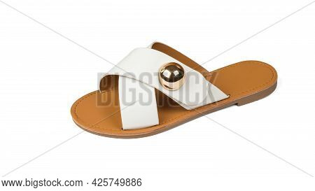 Women's Sandal With A Metal Brooch Isolated On A White Background. Comfortable Summer Women's Shoes.