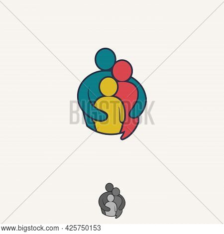 Colorful Vector Abstract People Icon Symbol Shaped Bulb Talk. People In Abstract Shape. Vector Illus