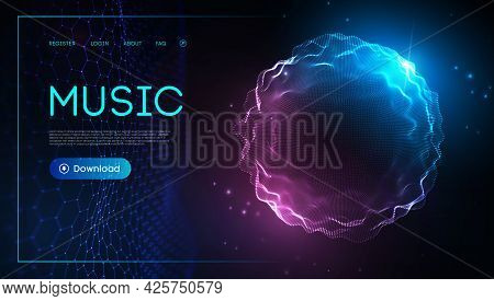 Music Wave Technology Sphere.vector Particle Big Data Visualisation Of Matrix. Equalizer For Music,