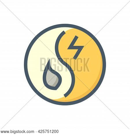 Hybrid Energy Vector Design. That Icon, Sign Or Symbol Consist Of Fuel And Electrical Inside Round S