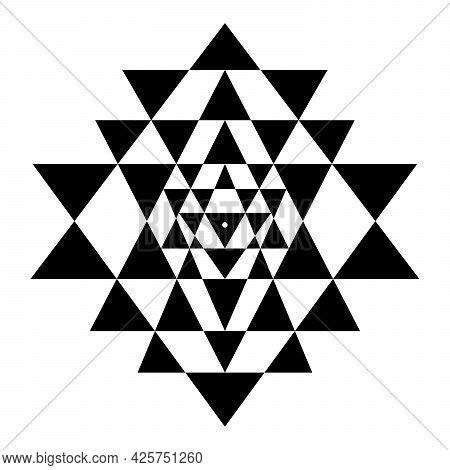 Triangles Of Shri Yantra, Also Called Sri Yantra Or Shri Chakra. Forty Three Black Triangles Of A My