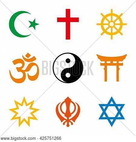 World Religions, Nine Colored Symbols Of Major Religious Groups And Religions. Islam, Christianity,