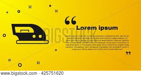 Black Electric Iron Icon Isolated On Yellow Background. Steam Iron. Vector