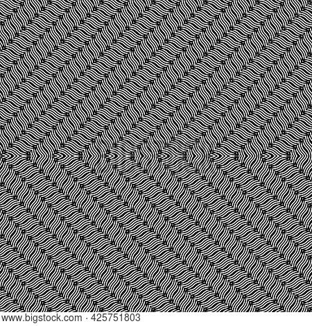 Design Seamless Zigzag Decorative Pattern. Abstract Monochrome Grating Background. Vector Art