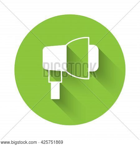 White Studio Light Bulb In Softbox Icon Isolated With Long Shadow. Shadow Reflection Design. Green C