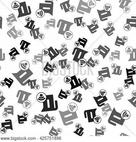 Black Smart Electric Kettle System Icon Isolated Seamless Pattern On White Background. Teapot Icon.