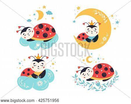 Cartoon Ladybug Vector Set Cute Sleeping Ladybird