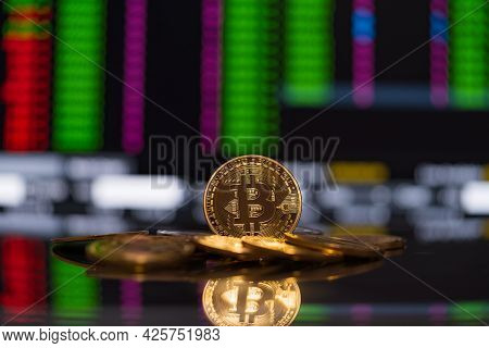 Bitcoin Golden Coin Group Crypto Currency Symbol And Stock Chart Candlestick Up Trend Win Stock Defo