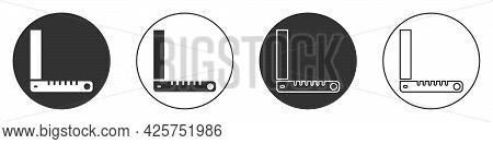 Black Corner Ruler Icon Isolated On White Background. Setsquare, Angle Ruler, Carpentry, Measuring U