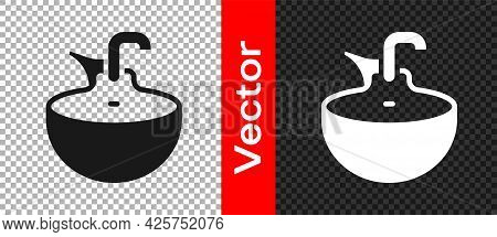 Black Washbasin Icon Isolated On Transparent Background. Barber Washing Chair With Washbasin. Hair W