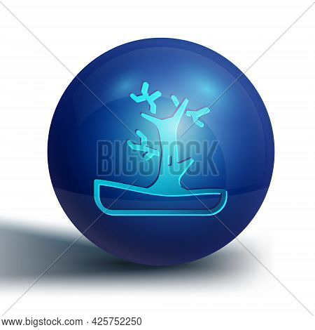 Blue Bare Tree Icon Isolated On White Background. Blue Circle Button. Vector