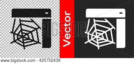 Black Spider Web Icon Isolated On Transparent Background. Cobweb Sign. Happy Halloween Party. Vector