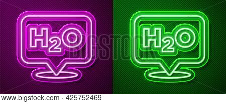 Glowing Neon Line Chemical Formula For Water Drops H2o Shaped Icon Isolated On Purple And Green Back