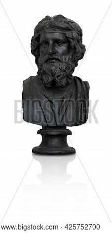 Bronze Bust Of The Ancient Scientist (playwright) Isolated On White Background. Design Element With