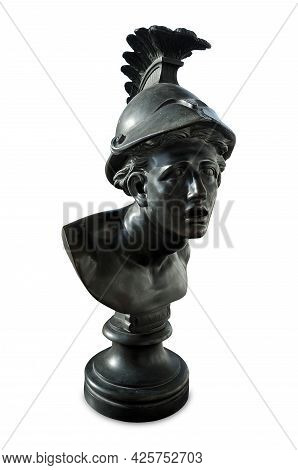 Bronze Antique Bust Of Trojan War Hero Ajax, Isolated On White Background. The Inscription On The Pe