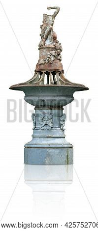 Ruins Of Metal Antique With Antique Goddess Isolated On White Background. Design Element With Clippi