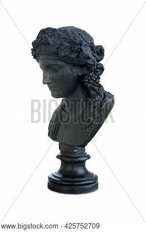 Bronze Antique Bust Of The Ancient Roman God Bacchus, Isolated On White Background. The Inscription