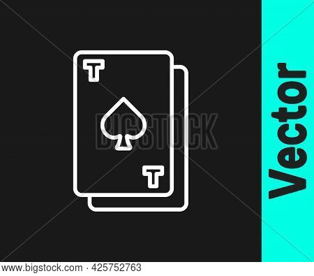 White Line Playing Card With Spades Symbol Icon Isolated On Black Background. Casino Gambling. Vecto