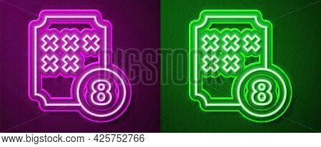 Glowing Neon Line Bingo Or Lottery Ball On Bingo Card With Lucky Numbers Icon Isolated On Purple And