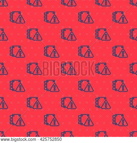 Blue Line House Under Protection Icon Isolated Seamless Pattern On Red Background. Home And Lock. Pr