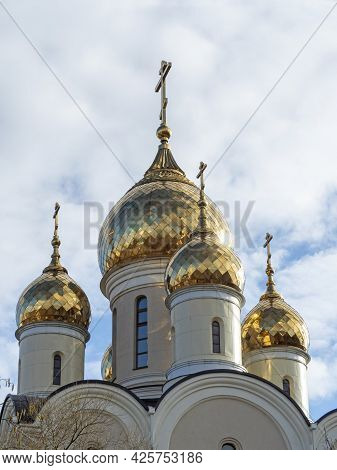 Close-up Of The Golden Domes Of The Church. Vertical Photo. Religion, Christianity