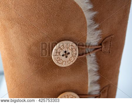 01.05.2021 Russia, Moscow. Close-up Of A Part Of Ugg Boots. Warm Shoes For Winter