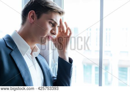 Young Businessman Get Headache Or He Get Sick During Working At Office Or Sad Man Get Problem From J