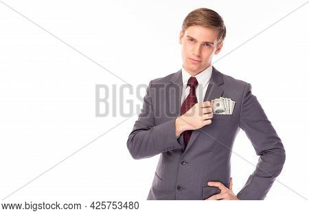 Businessman With Money In Pocket Suit Business Man Earn A Lot Of Money Rich Guy Get Wealth And Get M