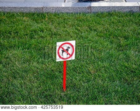 On The Green Lawn There Is A Sign About The Prohibition Of Dog Walking.