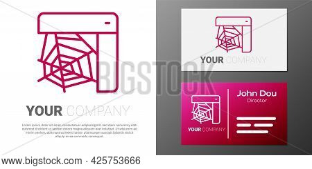 Logotype Line Spider Web Icon Isolated On White Background. Cobweb Sign. Happy Halloween Party. Logo