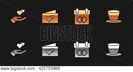 Set Heart In Hand, Greeting Card, Calendar And Cylinder Hat Icon. Vector
