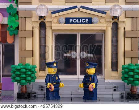 Tambov, Russian Federation - July 02, 2021 Two Lego Policeman Minifigures Standing In Front Of Their