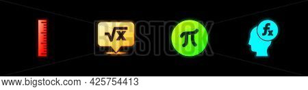 Set Ruler, Square Root Of X Glyph, Pi Symbol And Function Mathematical Icon. Vector